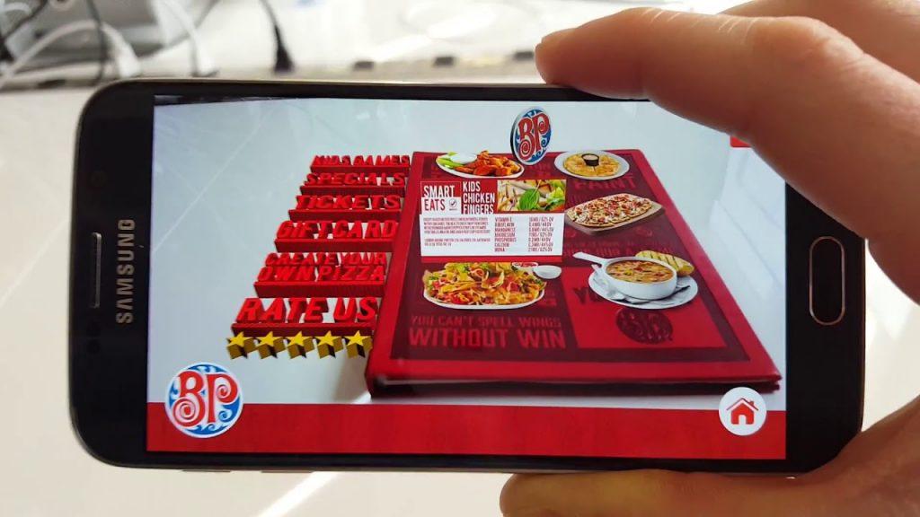 An example of an AR restaurant menu
